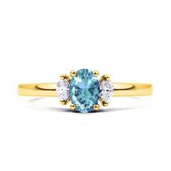 Rani Natural Aquamarine and Marquise Diamond Engagement Ring image 0