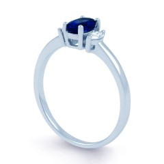 Rani 18ct White Gold Blue Sapphire and Diamond Engagement Ring image 1