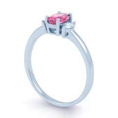 Rani 18ct White Gold Pink Sapphire and Diamond Engagement Ring image 1