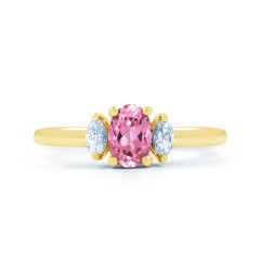 Rani Natural Pink Sapphire and Marquise Diamond Engagement Ring image 0