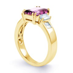 Aiko Pink Sapphire and Diamond Engagement Ring in 18ct Yellow Gold image 1