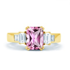 Aiko Pink Sapphire and Diamond Engagement Ring in 18ct Yellow Gold image 0