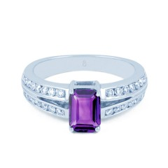 Everest 18ct White Gold Amethyst and Diamond Ring Split Shoulders image 0