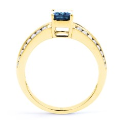 Everest 18ct Yellow Gold Aquamarine Double Shoulders Ring image 1