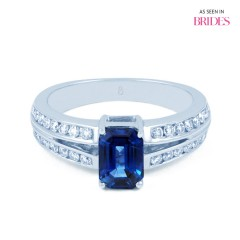 Everest Blue Sapphire Split Shoulders Engagement Ring 18ct White Gold image 0