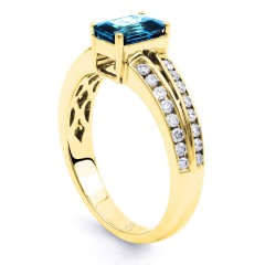 Everest 18ct Yellow Gold Blue Topaz Double Shoulders Ring image 1