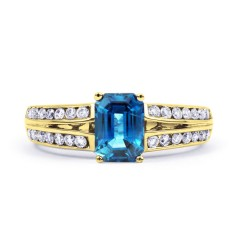 Everest 18ct Yellow Gold Blue Topaz Double Shoulders Ring image 0