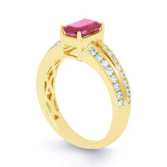 Everest 18ct Yellow Gold Pink Sapphire Double Shoulders Ring image 1