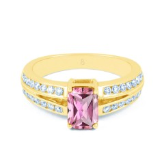 Everest 18ct Yellow Gold Pink Sapphire Double Shoulders Ring image 0