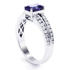 Everest Tanzanite and Double Diamond Shoulders Ring in 18ct White Gold image 1