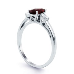 Engagement Ring with Oval Burmese Ruby image 1