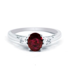 Engagement Ring with Oval Burmese Ruby image 0