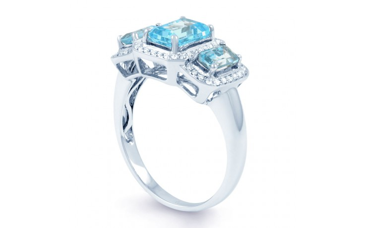 Blue Topaz & Diamond Trilogy Ring product image 2