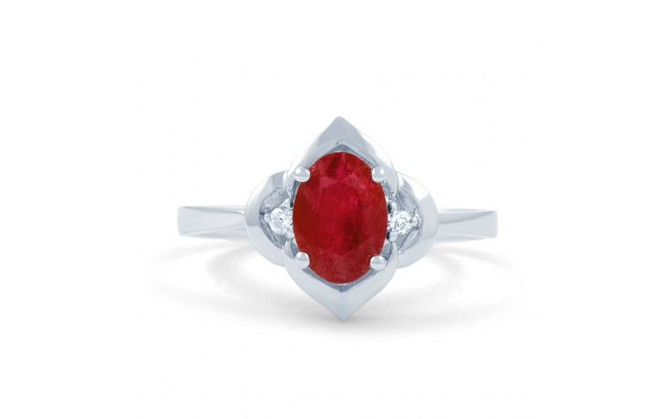 Vintage 18ct White Gold Floral Ruby and Diamond Gemstone Ring product image 1