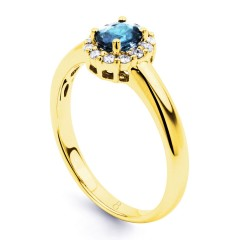 Aya Aquamarine and Diamond Halo Ring in 18ct Yellow Gold  image 1