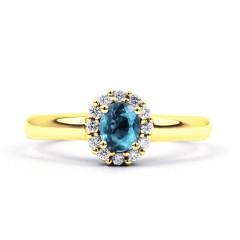Aya Aquamarine and Diamond Halo Ring in 18ct Yellow Gold  image 0