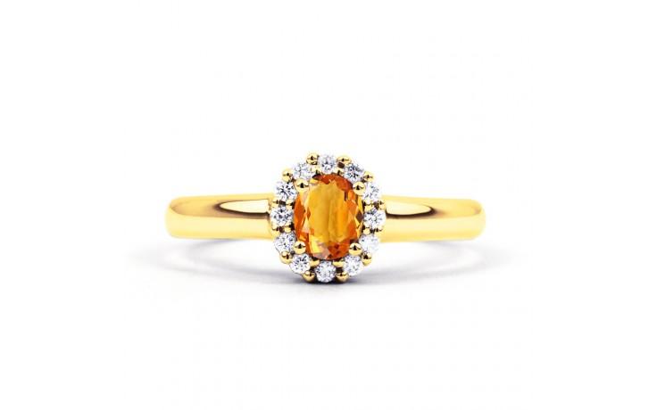 Aya Citrine & Diamond Halo Gold Ring  product image 1