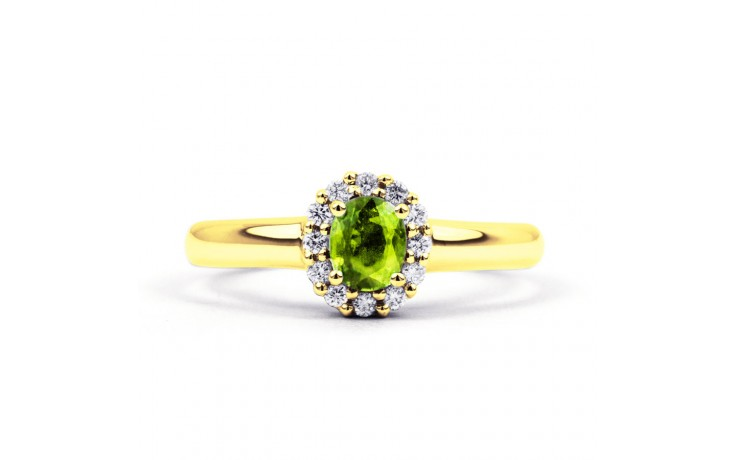 Aya Peridot & Diamond Halo Gold Ring product image 1