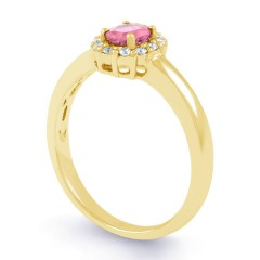 Aya Pink Sapphire Halo Ring in 18ct Yellow Gold  image 1