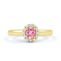Aya Pink Sapphire Halo Ring in 18ct Yellow Gold  image 0