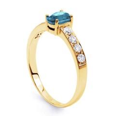 Mira Yellow Gold Aquamarine Ring with Diamond Shoulders image 1