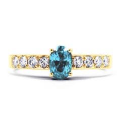 Mira Yellow Gold Aquamarine Ring with Diamond Shoulders image 0