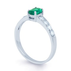 Mira 18ct White Gold Emerald and Diamond Shoulders Ring image 1