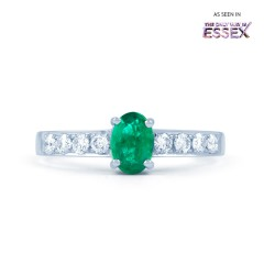 Mira 18ct White Gold Emerald and Diamond Shoulders Ring image 0