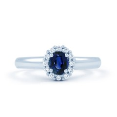 Aya 18ct White Gold Blue Sapphire and Diamond Halo Ring image 0