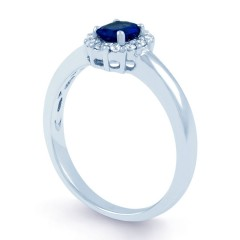 Aya 18ct White Gold Blue Sapphire and Diamond Halo Ring image 1