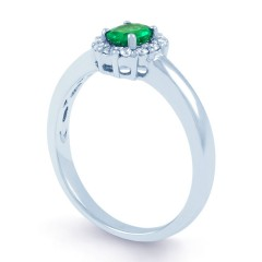 Aya 18ct White Gold Emerald and Diamond Halo Ring image 1