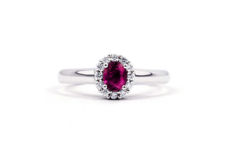 Aya Gold Pink Sapphire and Diamond Halo Ring product image 1