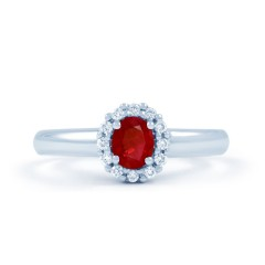 Aya 18ct White Gold Ruby and Diamond Cluster Ring image 0