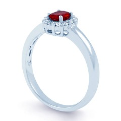 Aya 18ct White Gold Ruby and Diamond Cluster Ring image 1