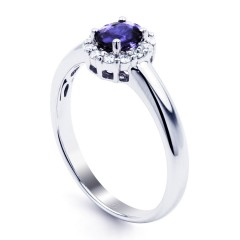 Aya 18ct White Gold Tanzanite and Diamond Halo Ring image 1