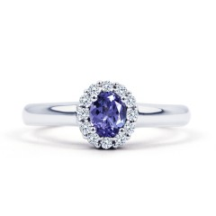 Aya 18ct White Gold Tanzanite and Diamond Halo Ring image 0