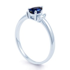 Sapphire Engagement Ring with Marquise Diamonds image 1