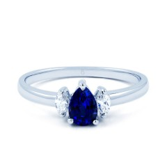 Sapphire Engagement Ring with Marquise Diamonds image 0