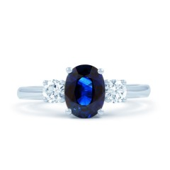 Sri Lankan Blue Sapphire and Diamond Engagement Ring image 0