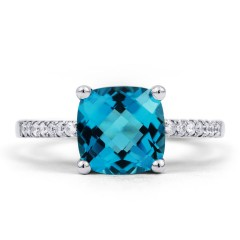 Kei 9ct White Gold Blue Topaz and Diamond Gemstone Ring image 0