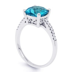Kei 9ct White Gold Blue Topaz and Diamond Gemstone Ring image 1