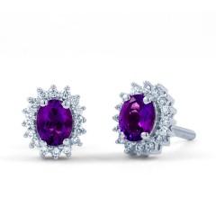 Amethyst Halo Stud Earrings image 1