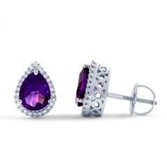 Pear Stud Earrings in Amethyst image 0