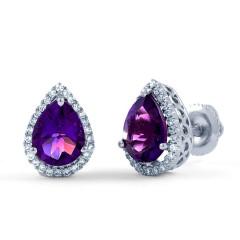 Pear Stud Earrings in Amethyst image 1