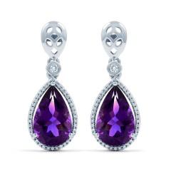 Amethyst and Diamond Drop Earrings image 1
