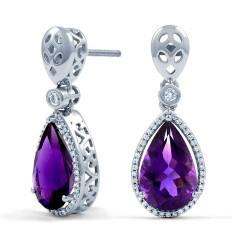 Amethyst and Diamond Drop Earrings image 0