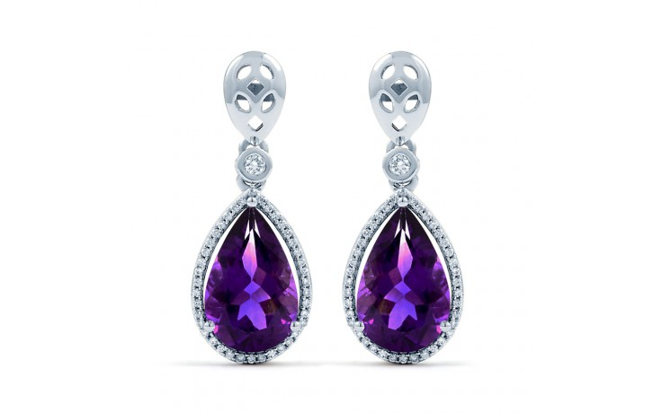 Amethyst and Diamond Drop Earrings product image 2
