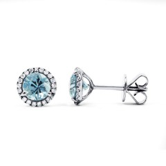 Aquamarine and Diamond Stud Earrings image 0