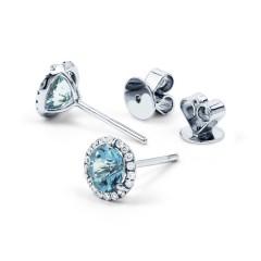 Aquamarine and Diamond Stud Earrings image 1