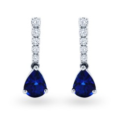 Luxe Sapphire Earrings in White Gold image 0